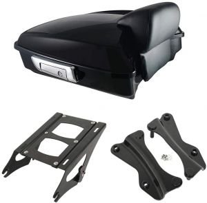 Street Glide and select CVO models 2014-later XMT-MOTO Vivid Black King Tour-Pak Luggage Kit w//wrap-aroud backrest pad fits for Harley Davidson Touring Road King Road Glide